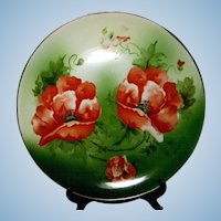 Hand Painted Poppy Cabinet Plate