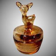 "Jeanette Glass Company ""Woodland Deer"" Powder Jar"