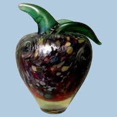 Lovely Art Glass Apple Paper Weight  Signed Vayes