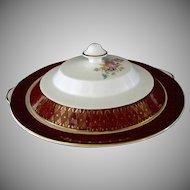Cronin China Company, **Royal Rajah Maroon Pattern** Covered Bowl