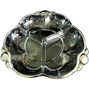 Duncan & Miller ** Canterbury Pattern ** Divided Bowl with Silver Overlay in **  Blossom Time** Pattern Silver Deposit