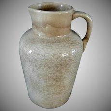 Beautiful 1890's Mocha Brown Stoneware Small Advertising Pitcher