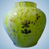 Vintage Yellow Bud Vase with Enameled Flowers in Relief