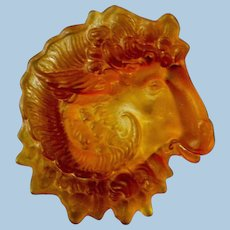 Amber Colored Ram's Head Coin Tray by Tiffin Glass Company