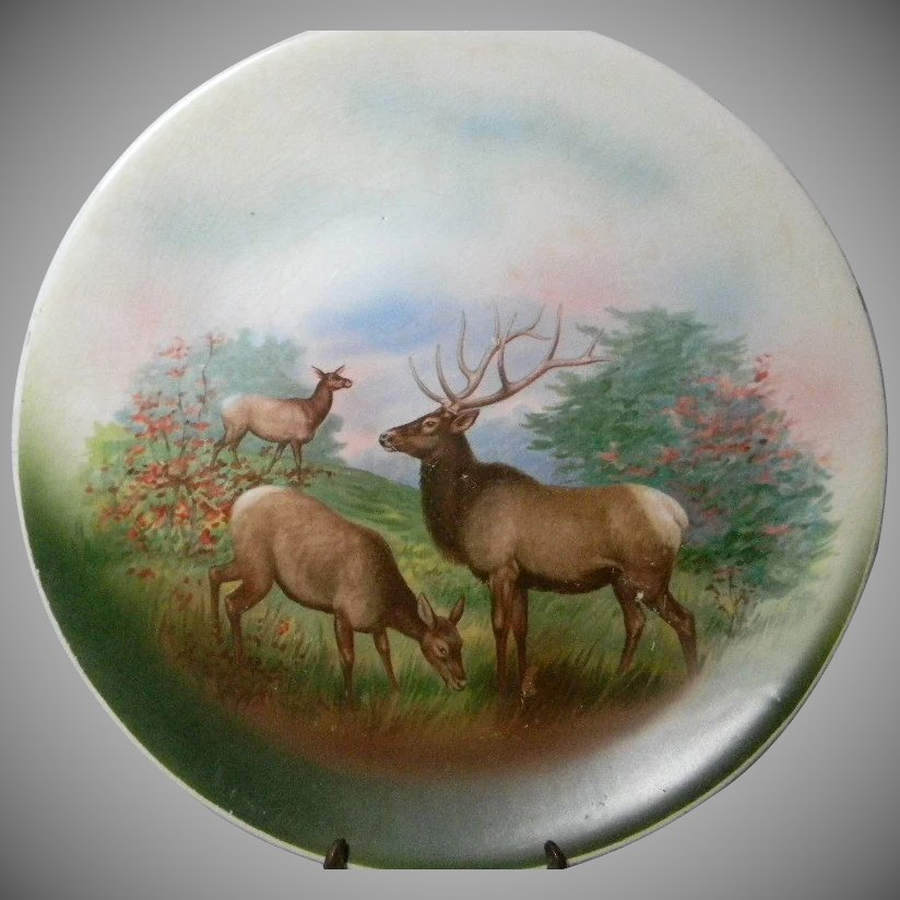 Large Vintage Game Plate With Elk Caroline Amp Lucy S