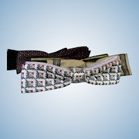 Five Vintage Clip-On Thin Bow Ties