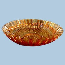 Vintage Fenton Strippled Rays Apricot Carnival  Glass Bowl