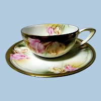R S Germany   Floral Pattern  Cup & Saucer