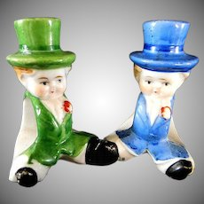 Pair of Figural Top Hat Characters Napkin Ring Holders **Japan**