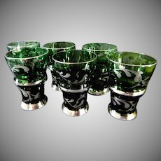 Set of Six Emerald Green Silver Overlay Cordial or Liqueur Glasses