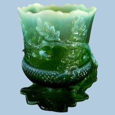 Mosser Glass Acorn Pattern Green Glass Opalescent Spooner