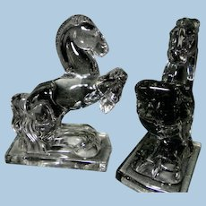 New Martinsville Crystal Glass Horse Bookends