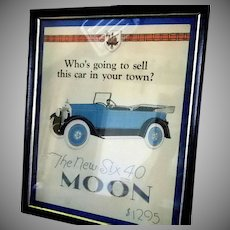 Moon Motor Car Poster or Sales Advertisement