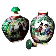 Two Oriental Porcelain Snuff Bottles