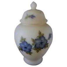 Fenton Blue 5 Petal Dogwood Satin Custard Ginger Jar