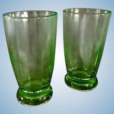Green Depression Glass Tumblers  ** Set of 2