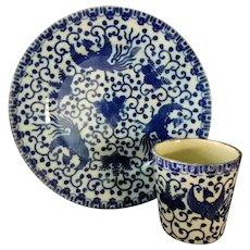 Blue Phoenix Flying Turkey Nippon Sandwich Dish & Handleless Cup