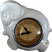 Art Deco Kitchen Clock Ceramic Elephant Middlebury  **It Runs**