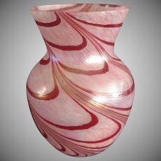 Excellent  Pink Art Glass Flower Vase Hand Blown