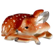 Russian Lomonosov Large Fawn Figurine