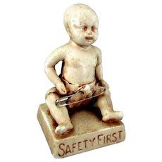 Vintage Safety Pin Advertising Display of Baby