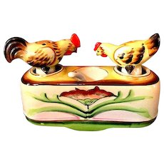 Occupied Japan Chicken Nodder Salt & Pepper Shakers w/ Condiments