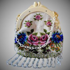 Vintage Beaded Purse with Celluloid Frame & Carry Chain