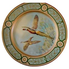 Exceptional Pheasants on Baret Ware Lithographed Metal Tray