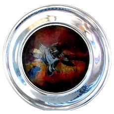 Mallards at Dawn Stained Glass & Pewter Decorative Plate