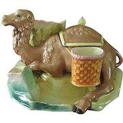 Vintage Majolica Smoking Set w/ Camel