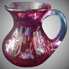 Hand Blown Cranberry Colored Creamer or Cream Pitcher