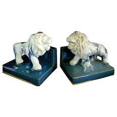 Ceramic Lion Multicolored Bookends