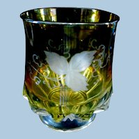 Duncan EAPG Tumblers Yellow Etched Grape Vine Pattern w/ Zippered Slash