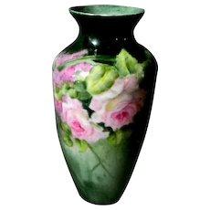 Pretty Hand Painted Rose Vase ** Austria