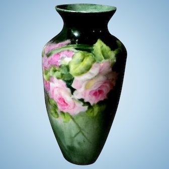 Pretty Hand Painted Rose Vase ** Austria