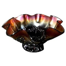 "Northwood Carnival Glass ""Star of David and Bows"" Amethyst Footed Bowl"