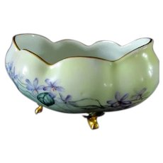Handpainted Violets on Imperial Austria Footed Bowl
