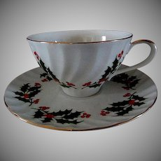 Set of Six,  Bone China,  Christmas Cups & Saucers,  Holly Pattern