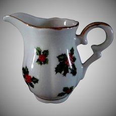 Christmas Cream Pitcher, Sugar Bowl and Salt & Pepper Shakers Set  Holly Pattern