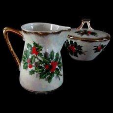 Lovely Porcelain Christmas Creamer and Sugar Bowl Holly Design