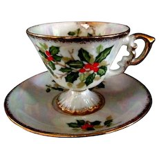 Beautiful Collectable Christmas Cup with Saucer  by Enesco