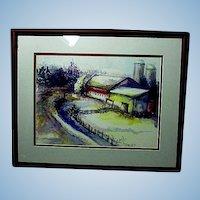 Watercolor Farm Scene in Maroon Frame