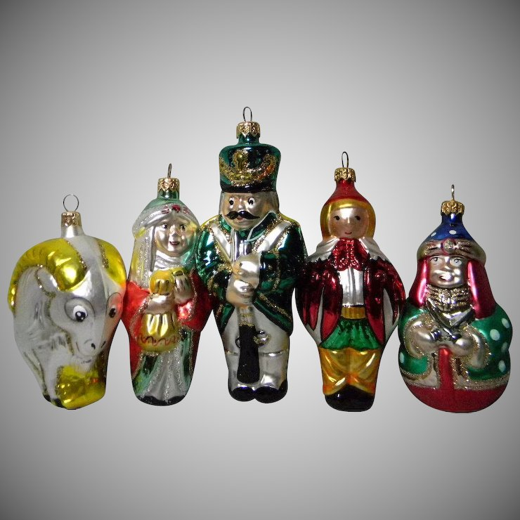 7 hand crafted european glass christmas ornaments - Glass Christmas Ornaments