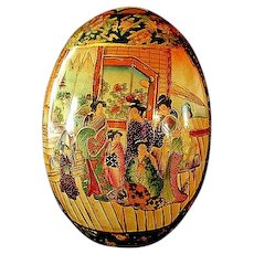 Large Oriental Ceramic Decorative Egg