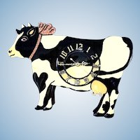 Folk Art Holstein Cow Clock