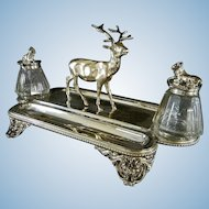 Fancy Victorian Silver Plated Double Inkwell with Stag and Mountain Goats ** Ink Well