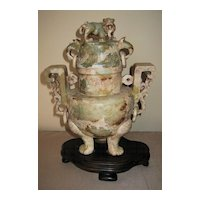 Chinese Carved Stone Tripod Incense Burner