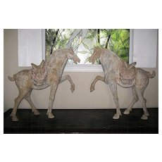 Exquisite Pair of Tang Dynasty Pottery Horses