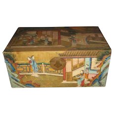 Beautiful Chinese Painted Pigskin Trunk