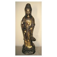 Tall Elegant Chinese Bronze Standing Guanyin